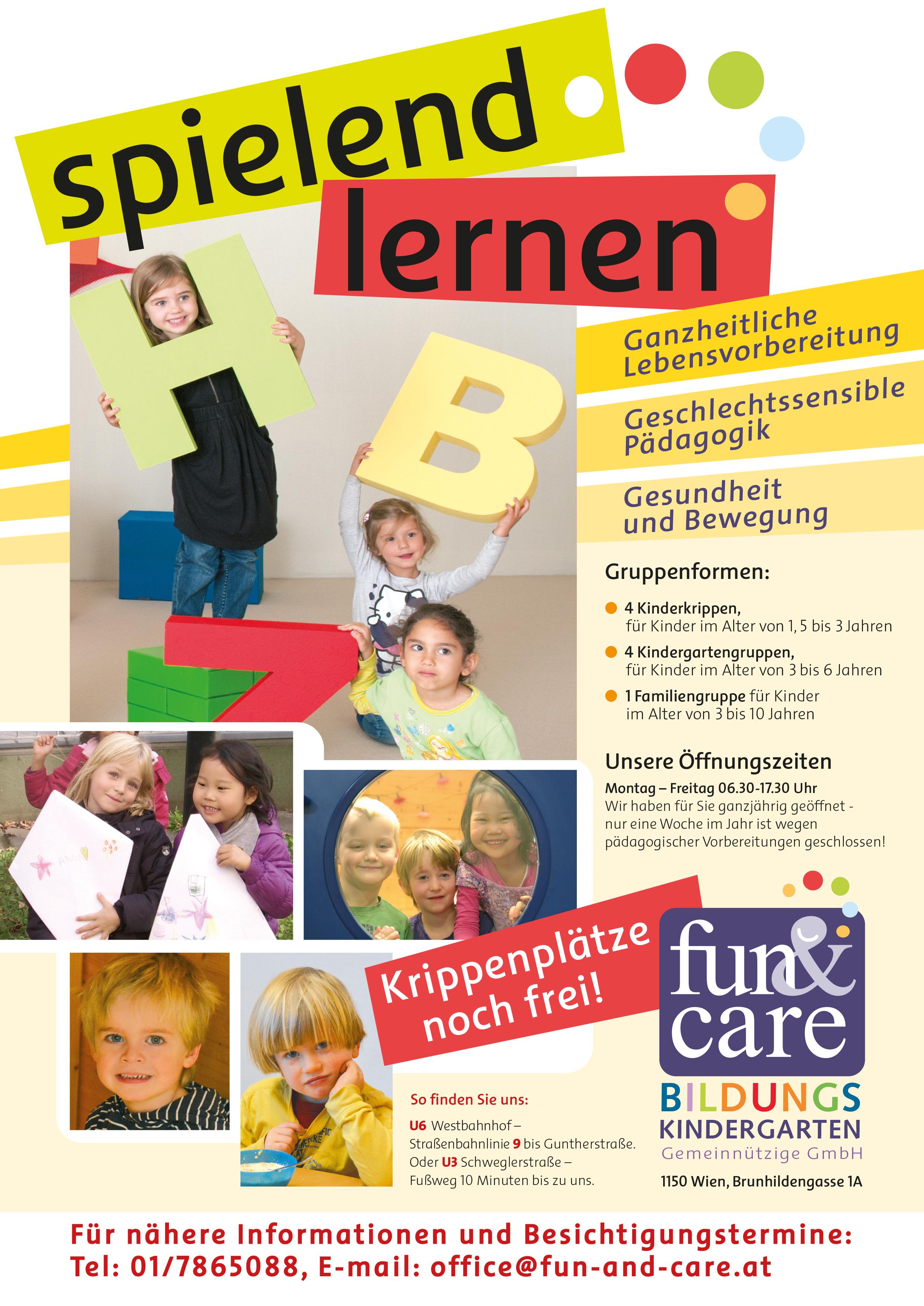 """Noch freie Krippenplätze beim Kindergarten """"fun&care"""""""